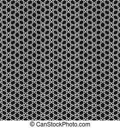 벡터, 검정과 백색, 이슬람교, 패턴