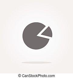벡터, 그래프, 아이콘, 통하고 있는, 둥근, 단추, 고립된, 백색 위에서
