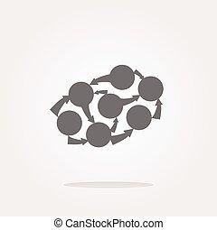 벡터, 그래프, 아이콘, 통하고 있는, 둥근, 단추