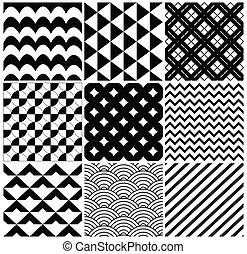 벡터, 기하학이다, 배경 패턴, 세트