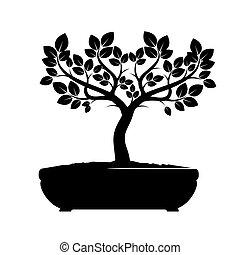 벡터, 나무., 검정