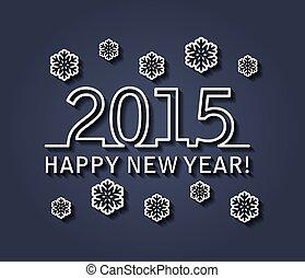 벡터, 년, 2015, 새로운, 카드, 행복하다