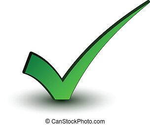 벡터, 녹색, 긍정적인, checkmark