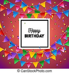 벡터, 다채로운, 심상, 생일, 기, 카드, 행복하다