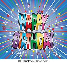 벡터, 다채로운, 인사, 생일, 배경, 행복하다