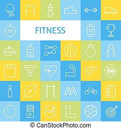 벡터, 단호한 대사, 예술, 현대, 적당, 운동회, 와..., 건강한 생활양식, 아이콘, 세트