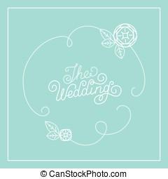 벡터, 디자인, 카드, 결혼식