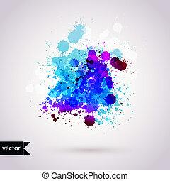 벡터, 떼어내다, 손, 그어진, 수채화 물감, 배경, 삽화, 얼룩, 수채화 물감, 색, 습기, 통하고 있는,...