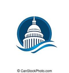 벡터, 미국 영어, 로고, 창조, 건물, 단일의, 국회 의사당, 디자인