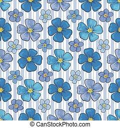 벡터, 바람 빠진 타이어, 아마, 꽃, seamless, 패턴, 배경막