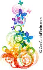 벡터, 배경, 와, 꽃