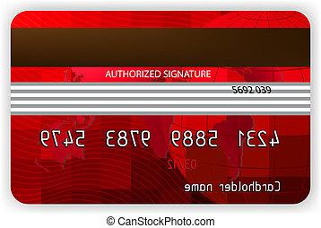 벡터, 빨강, 신용 카드, 밀려서, 보기., eps, 8