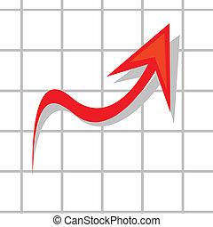 벡터, 사업, 그래프, 전시, 이익, 와..., gains.