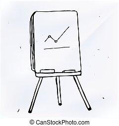 벡터, 사업, 그래프, 통하고 있는, flipchart, 낙서, 삽화