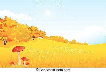 벡터, 삽화, 가을, 시골의 풍경, 와, 목초지, 와..., 숲