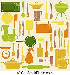 벡터, 삽화, 의, 부엌, 도구, 치고는, 요리