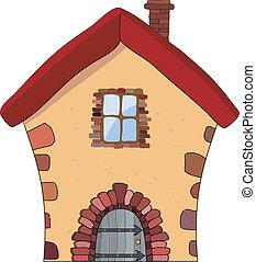 벡터, 삽화, 의, a, 돌 집