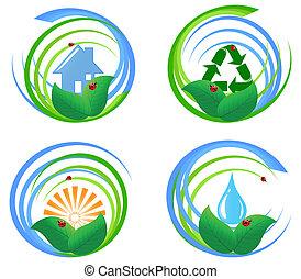 벡터, 삽화, 의, a, 세트, 의, 자형의 것, 환경, 디자인, elements.