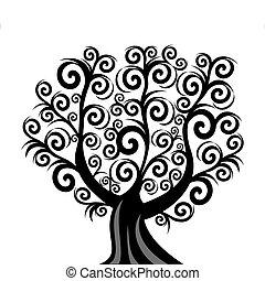 벡터, 삽화, 의, a, 컬, 나무, 고립된, 백색 위에서, 배경