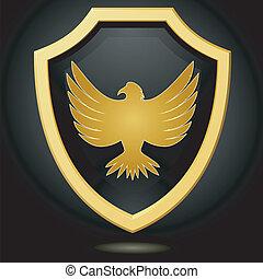 벡터, 삽화, 황금, 방패, 통하고 있는, a, 검은 배경, 와, 자형의 것, 독수리