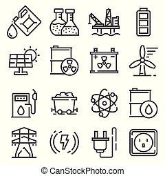 벡터, 선, 에너지, 전기, 힘, 아이콘, 세트