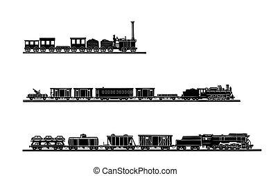 벡터, 세트, 늙은, 기차, 백색 위에서, 배경