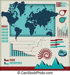 벡터, 세트, 성분, infographics