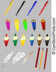 벡터, 세트, 의, 주제, 의, 사무실, 그만큼, 손잡이, a, 연필, a, 깃털