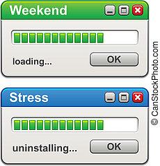 벡터, 스트레스, 짐싣기, uninstalling, 창, 컴퓨터, 주말