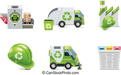 벡터, 쓰레기, 재활용, 아이콘, 세트