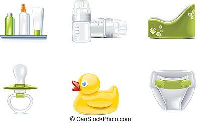 벡터, 아기, icons., p.3