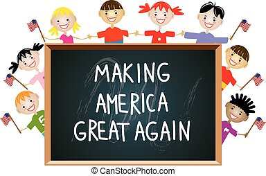벡터, 아이들, 미국 영어, 애국의, 교육, 개념