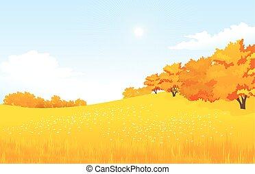 벡터, 의, 가을, 조경.