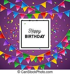벡터, 인사, 삽화, 생일 카드, 행복하다