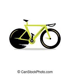 벡터, 자전거, 만화, illustration.