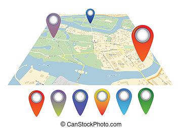 벡터, 지도, 아이콘, 와, 핀, 포인터
