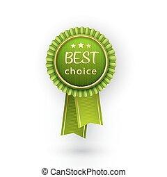 벡터, 최선, 선택, 녹색, 상표, 와, ribbons.