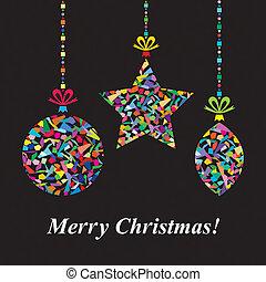 벡터, 크리스마스 카드, 인사