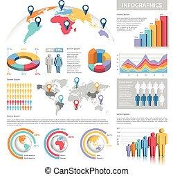 벡터, 파스텔 색, infographics, 세트