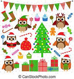 벡터, 파티, 세트, 크리스마스, 성분