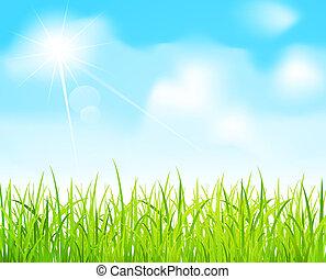 벡터, 푸른 하늘, 와..., 녹색 잔디