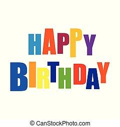 벡터, 활판 인쇄술, 생일, 행복하다
