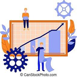 벡터, 휴대용 퍼스널 컴퓨터에남자, 두루마리, 공간으로 가까이, 그래프, 막대 그림표