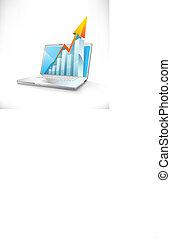 벡터, 휴대용 퍼스널 컴퓨터, 와, 성장, 막대 그래프