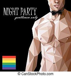 벡터, 18, 아시아 사람, adults), 나체 상태, 또는, style., low-polygonal, 파티, 코카서스 사람, 남자, poster., 밤, (for, 삽화, 적합, 쇼, 활 넥타이, 몸