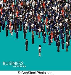 벡터, 3차원, 동일 크기다, 삽화, 의, 사업, 또는, 정치, communi