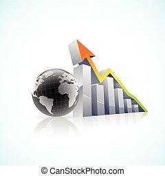 벡터, 3차원, 세계적인 경제, 막대 그래프