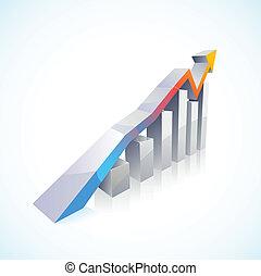 벡터, 3차원, 증권 거래소, 막대 그래프