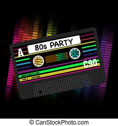 벡터, 80년대, 파티, 배경