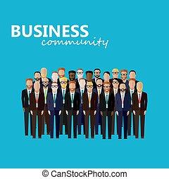 벡터, community., l, 사업, 정치, 또는, 바람 빠진 타이어, 삽화